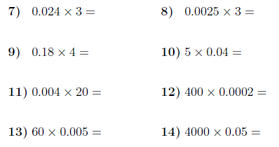 Multiplying decimals by whole numbers worksheet info