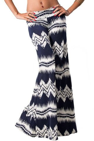 Smoke Signals Palazzo Pants - Navy + Ivory - $40.00 | Daily Chic Bottoms | International Shipping