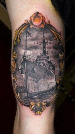 I Would Like This Battleship Tattoo Tattoos Nautical Tattoo La Tattoo