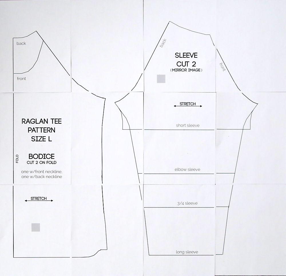 Sewing Diagram Shirt Modern Design Of Wiring Machine Free Raglan Tee Pattern Women S Size Large Rh Pinterest Com Singer Repair Diagrams