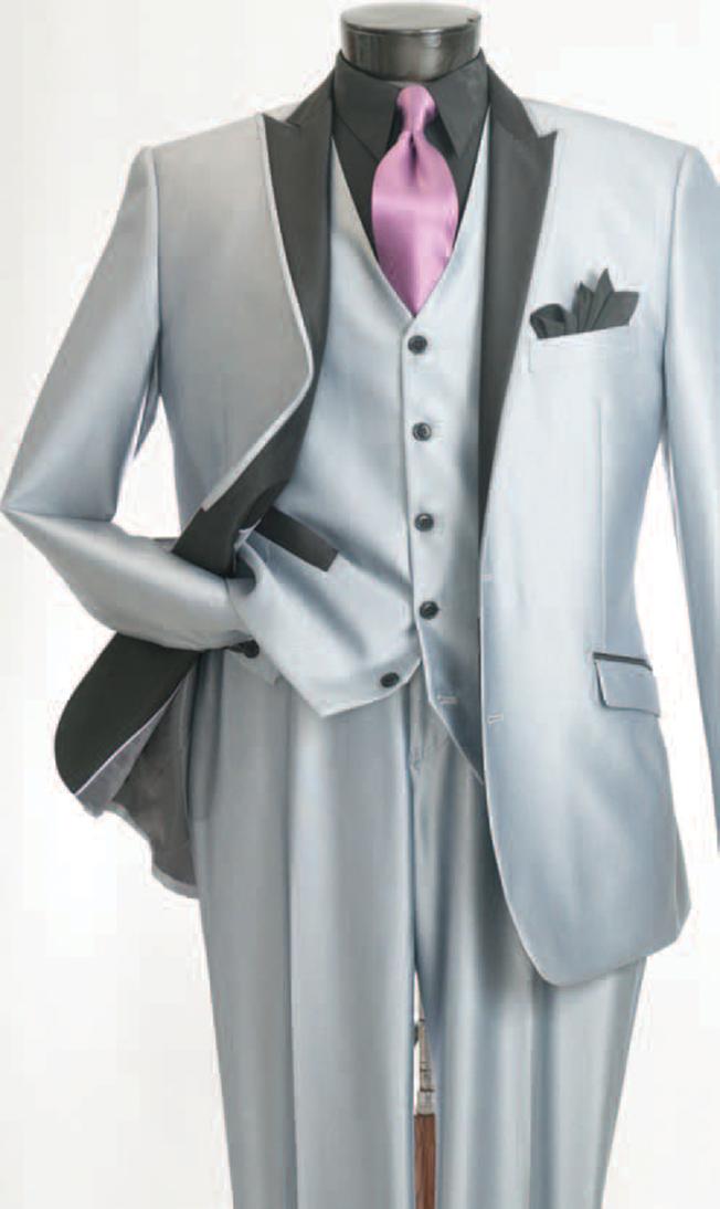 Great website for suits Mens Slim Cut Suit Silver 3 Piece Shiny ...