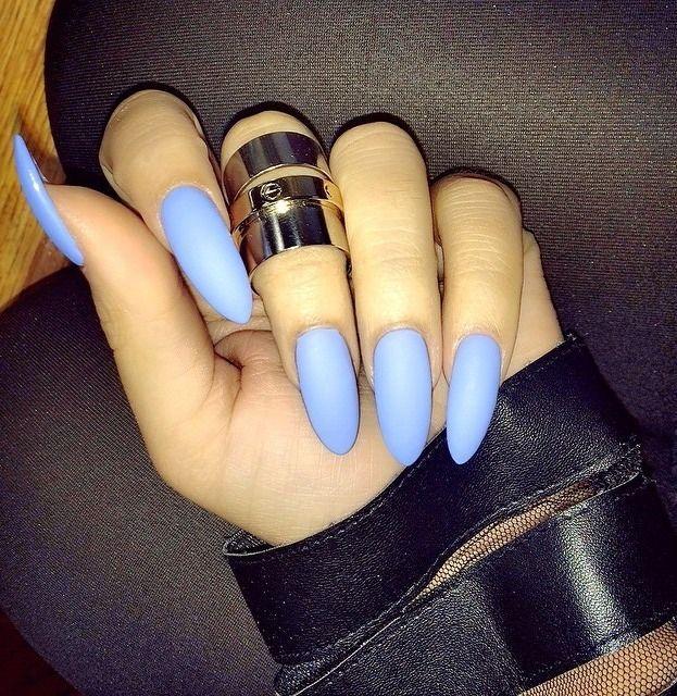 almond acrylic nails blue - Recherche Google | Nails | Pinterest ...