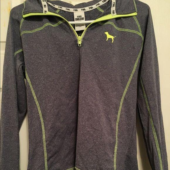 Victoria's Secret pink zip up Gray and neon green pink zip up PINK Victoria's Secret Tops Sweatshirts & Hoodies