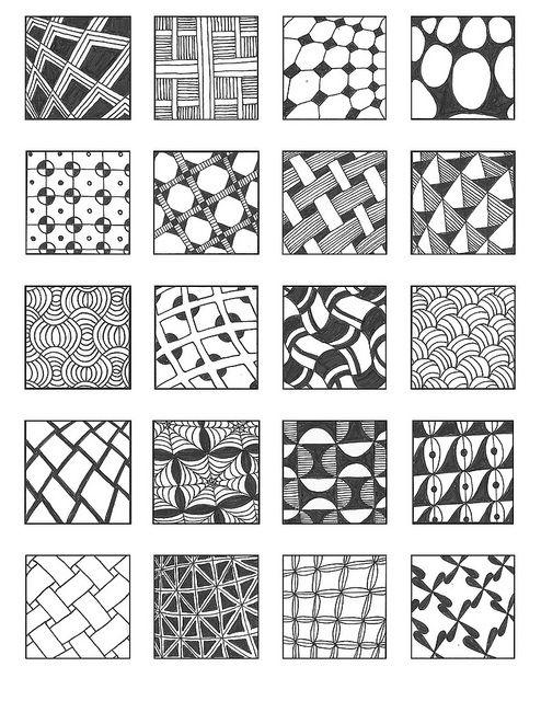 Grid 3 patterns zentangles and doodles for Basic doodle designs