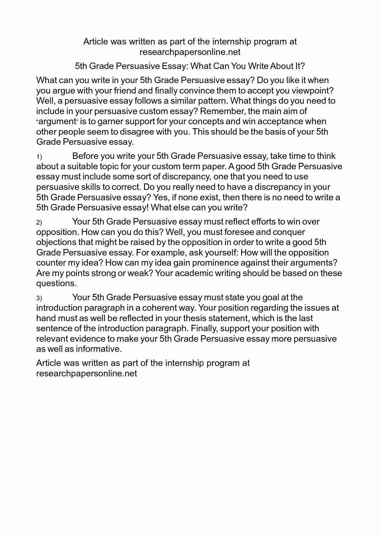 Sample Informational Essay 5th Grade Elegant 18 Best Of 4th Grade Essay Writing Worksheets Persuasive Writing Examples Writing Worksheets Persuasive Essays [ 1754 x 1240 Pixel ]