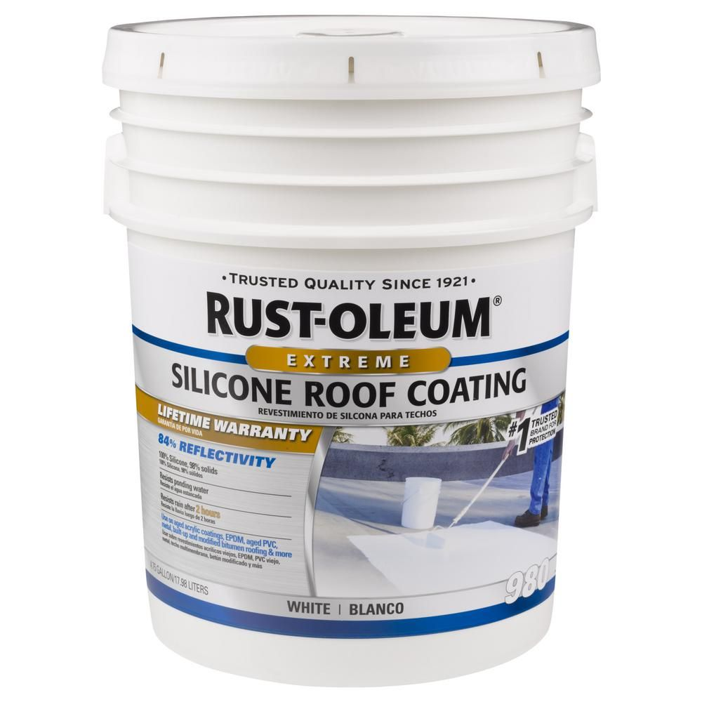 Rust Oleum 4 75 Gal Silicone Reflective Roof Coating Roof Coating Elastomeric Roof Coating Metal Roof Paint