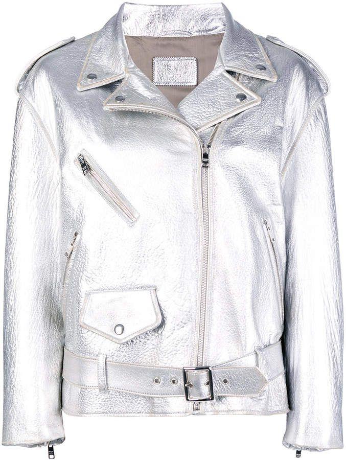 f7f8eff4f808 Prada metallic biker jacket Prada Metallic Biker Jacket - Farfetch Leather  Jacket, Calf Leather,
