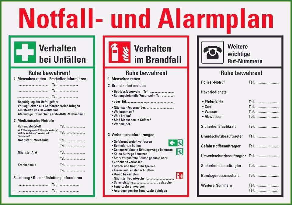 Aushang Notfall Und Alarmplan Notfall Und
