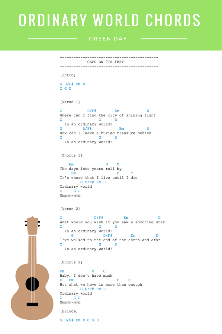 Ordinary World Chords Green Day Guitar Ukulele Chords View The Full Ordinary World Video Lesson In The L Ukulele Lesson Green Day Ordinary World Green Day