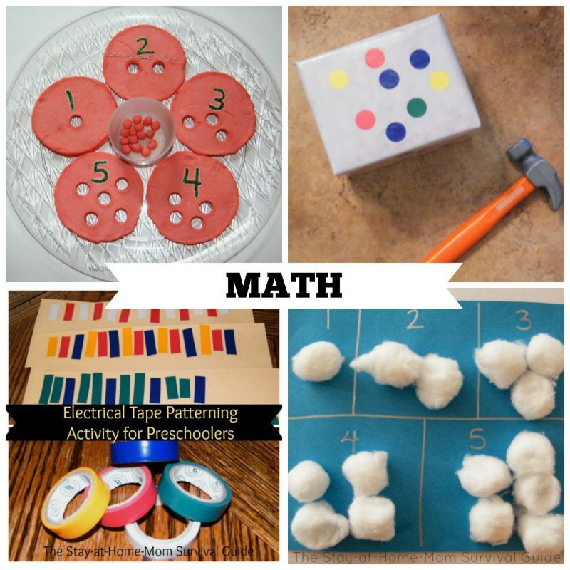 Activities for Preschool that teach math skills. These are great preschool activities for at home learning.