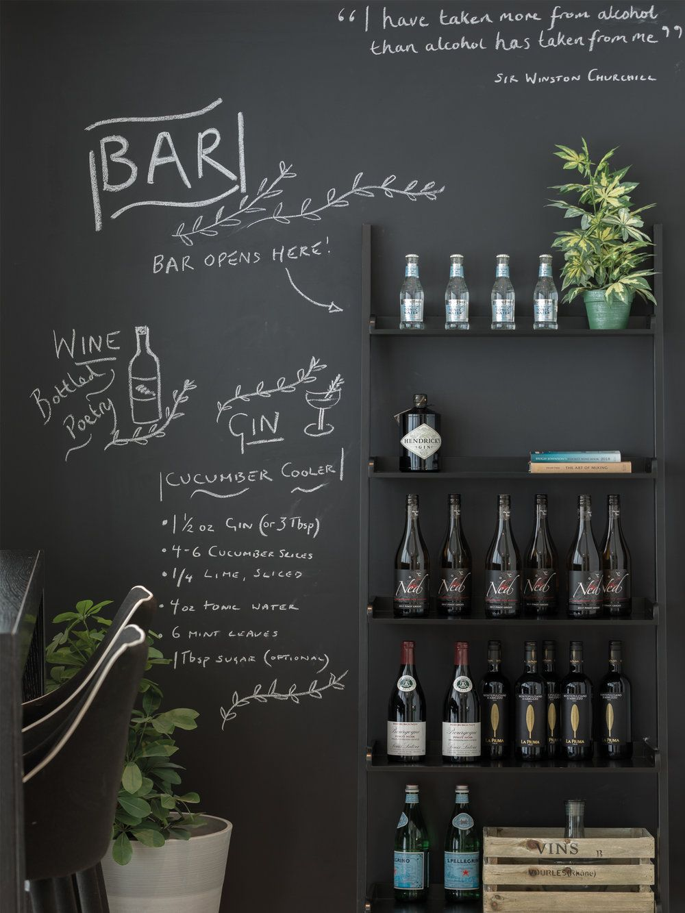 Using A Blackboard Wall For All Your Favourite Cocktail Recipes