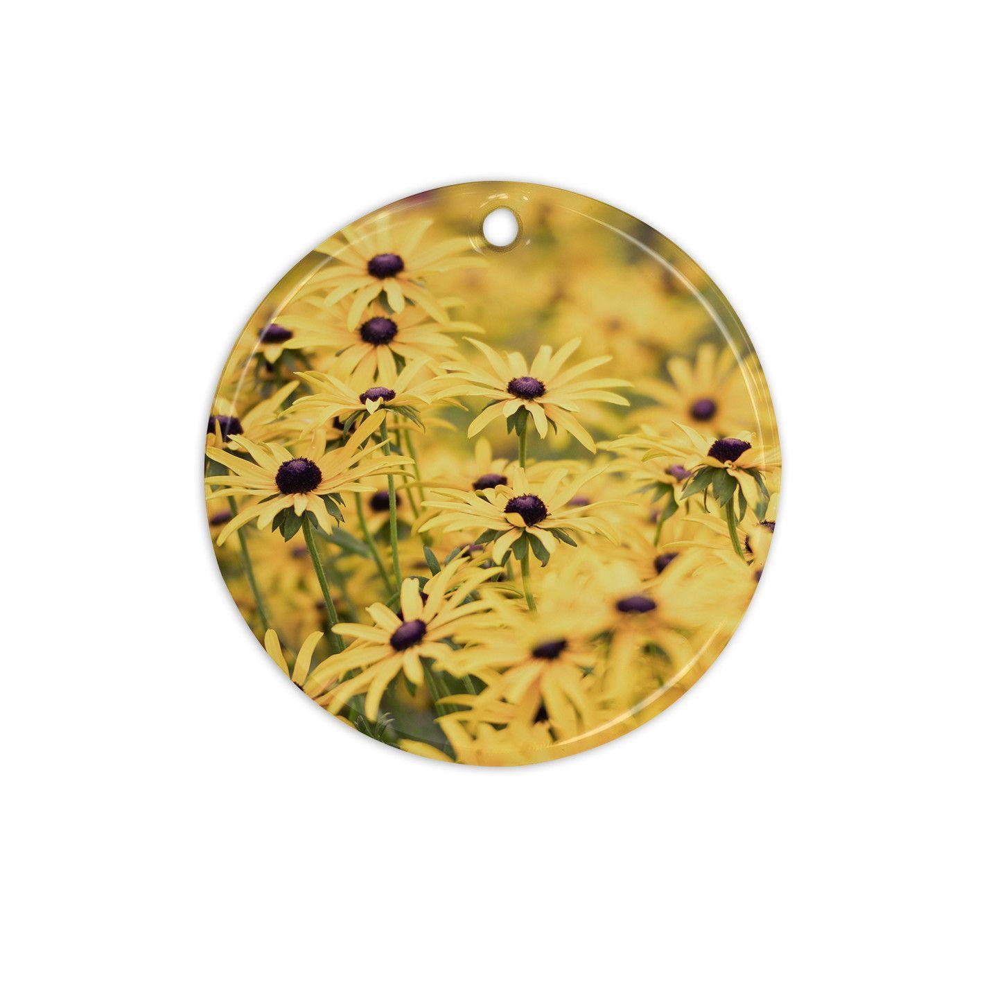 "Debbra Obertanec ""Pantone Yellow"" Flower Daisy Ceramic Circle Ornament"