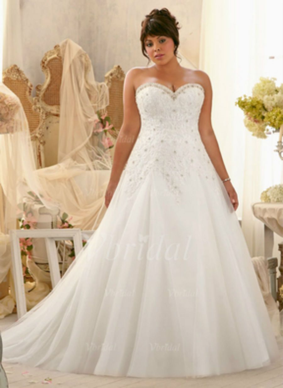 Nice awesome plus size whiteivory bridal gown lace wedding
