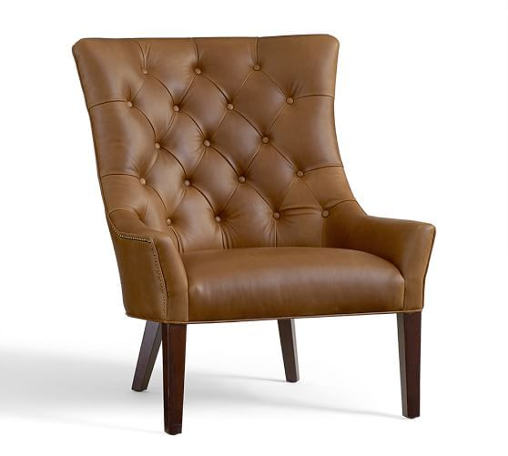 Hayes Tufted Leather Armchair Dining Chair Slipcovers