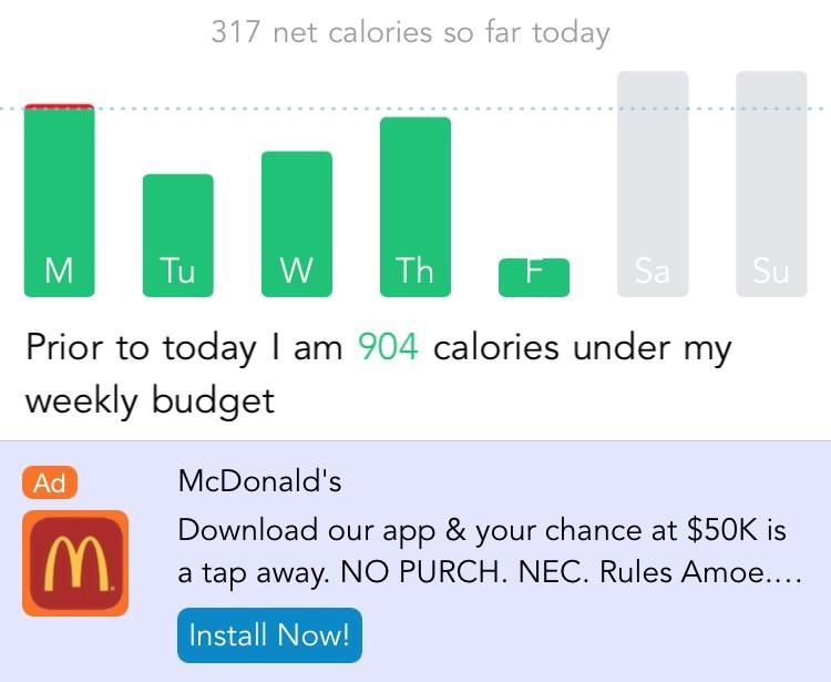 McDonalds ad in weight loss app