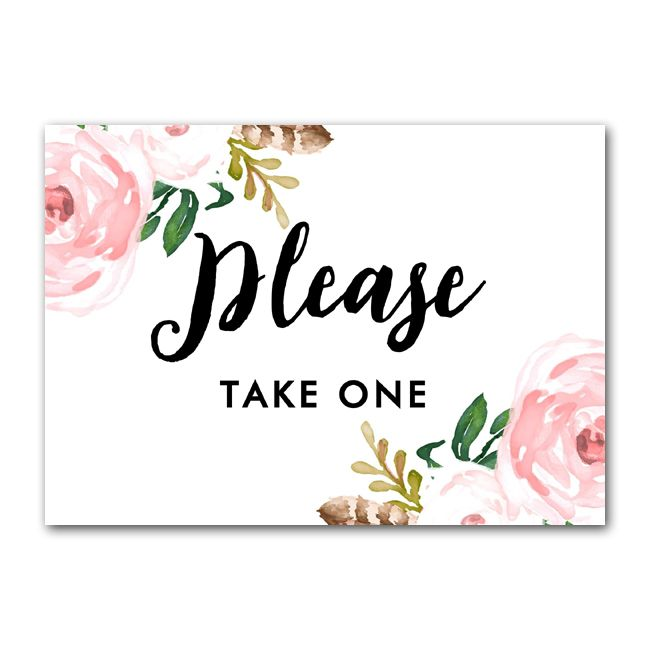 picture about Free Printable Please Take One Sign called Free of charge Printable Marriage ceremony Signal Bouquets - Be sure to Just take One particular