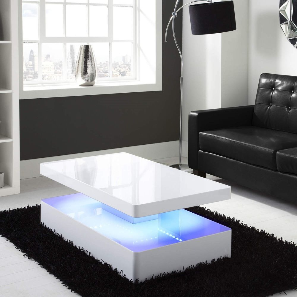 Details About High Gloss White Coffee Table With Led