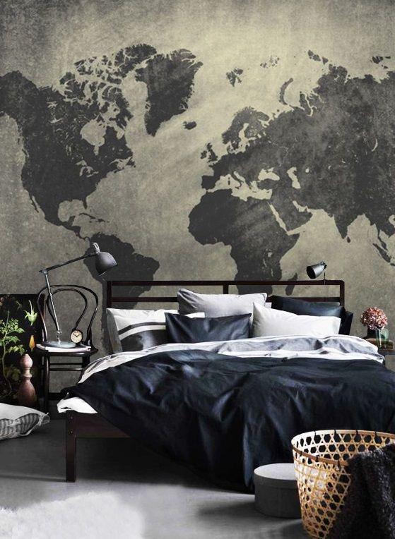 Wallpaper,World Map,Concrete,Peel&stick,Loft,Adhesive