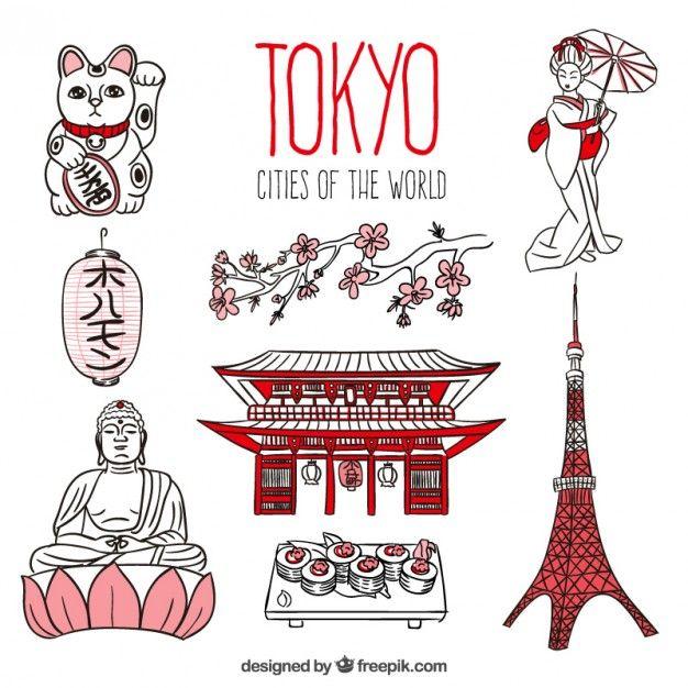 Pack de Tokyo dibuado a mano Vector Gratis