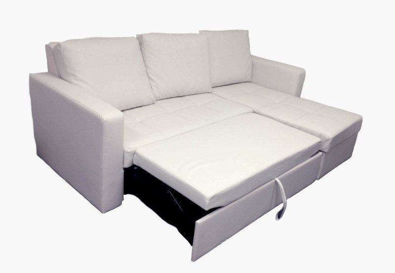 Modern White Sectional Sofa With Storage Chaise Couch Sleeper Futon Bed Pull Out