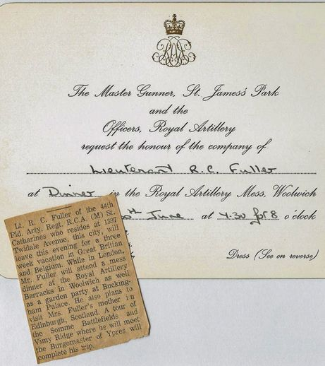 In 1965 Richard C Fuller accepted an invitation for a mess – Royal Garden Party Invitation
