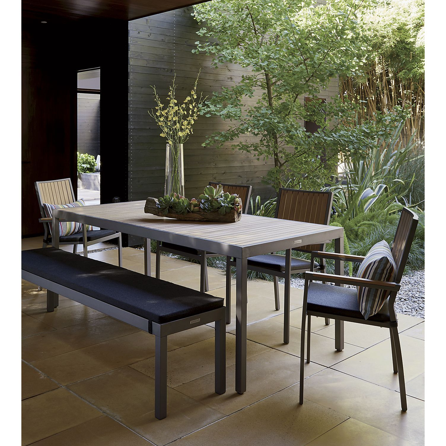 Rectangular dining table seats up to eight the alfresco grey rectangular outdoor dining table is a crate and barrel