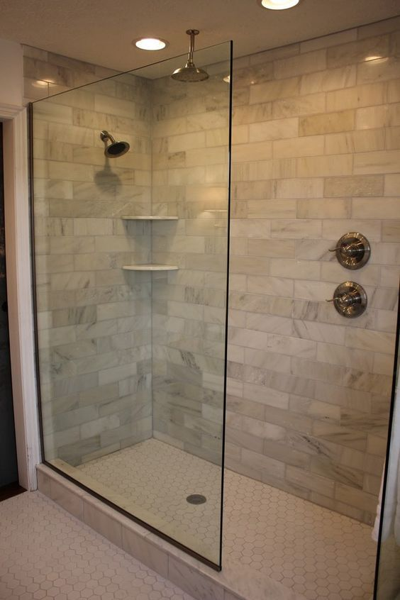 Design Of The Doorless Walk In Shower Bathrooms Pinterest Brick Tiles Bricks And Water