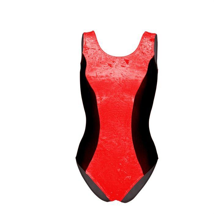 eb198ccc9ee0 Starlite Crushed Velvet Missi Dance Leotard. Black sleeveless leotard with  velvet panel insert in front