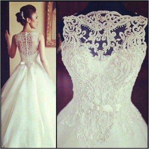 Elegant Wedding Dresses 2017 Sleeveless Crystal Beads With Long Tail White Lace Ball Gown Bridal
