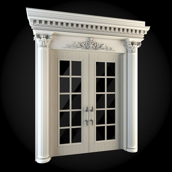 Door 018  House 3D model  3D 3DModel 3DDesign 3DScene architecture door double ornaments pillar is part of Door design interior -