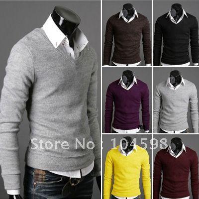 V-neck basic sweaters