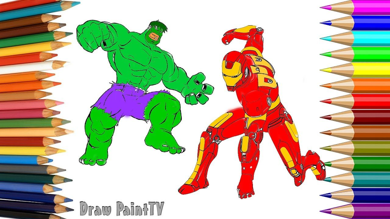HULK vs Iron Man Coloring Pages For Kids to Learn Colors ...