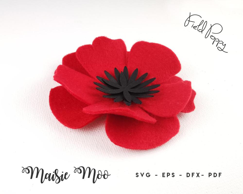 Poppy SVG Flower Template Felt Flower SVG, 3D Felt Flower Pattern, DIY Fabric Flower, Svg files for Cricut Cut Files, Silhouette Cut Files,