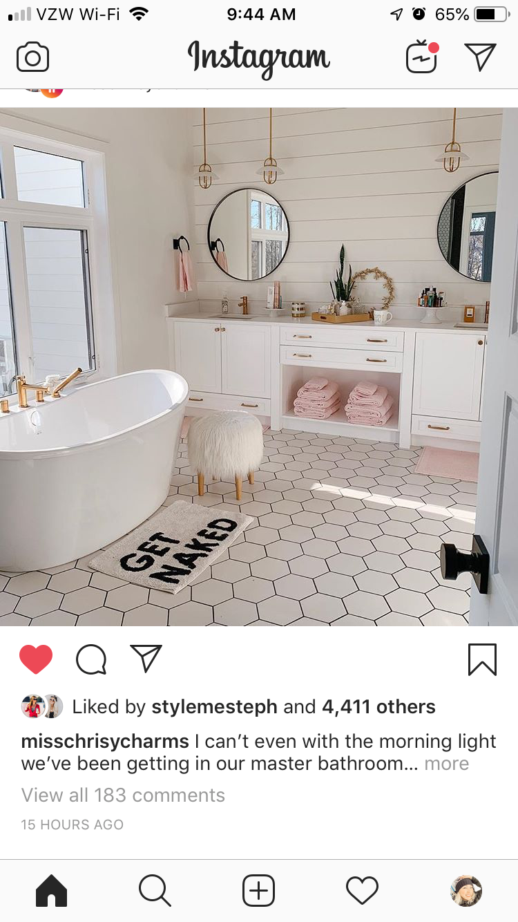 Photo of Love this bathroom. Probably would do wood floors or squared tile