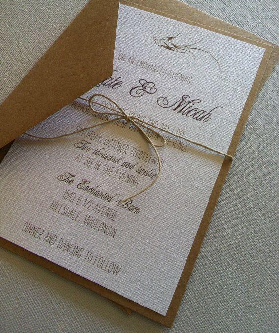 Rustic Romantic Bird Wedding Invitations by
