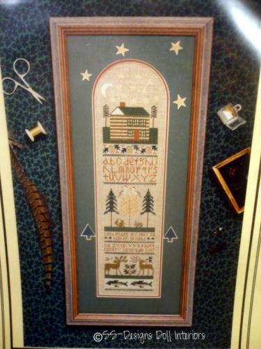 Counted Cross Stitch North Country SAMPLER Pattern CHART Log Cabin Leaflet