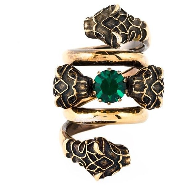 33ad3ba1d Gucci Snake Head Ring ($395) ❤ liked on Polyvore featuring jewelry, rings,  green, gucci ring, green cocktail ring, statement rings, snake ring and  gucci ...