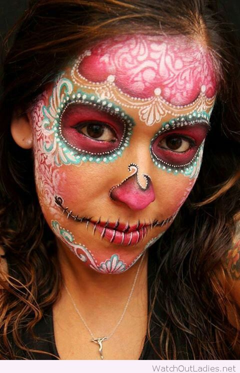 sugar skull with delicate lace stencilling for halloween