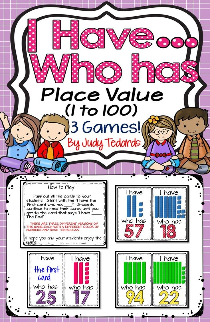 The I have...who has...game is a great way to teach or review Place Value.  There are three different versions of this game.  Each set has 32 cards and features numbers 1 to 100.   It can be used in small groups or with your whole class.  It makes learning and reviewing place value fun.  THIS SET IS INCLUDED IN I HAVE...WHO HAS BUNDLE!