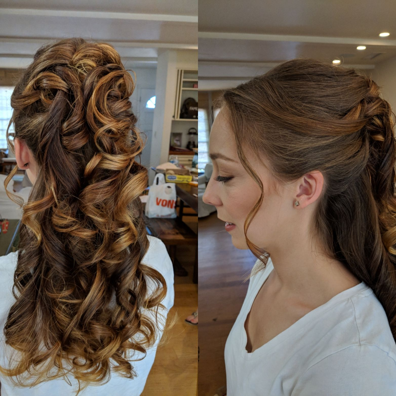 stacked pinned back curls showcasing her beautiful caramel