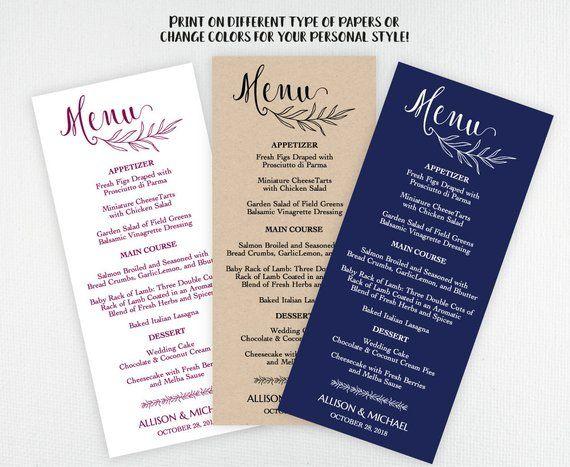 Rustic Wedding MENU Template Editable Menu Printable Card DIY