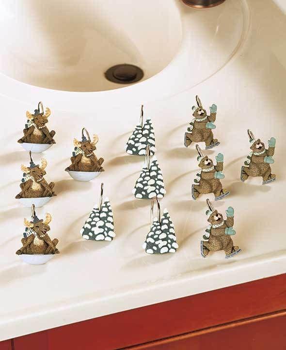 Winter Fun Shower Curtain Hooks Set Bear Humor Bathroom Decor Cute ...
