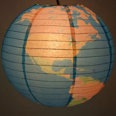 "Paper Lanterns Walmart Stunning Quasimoon 14"" Geographical World Map Earth Globe Paper Lantern Design Decoration"