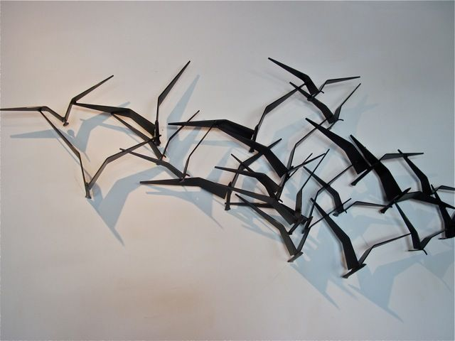 Metal Wall Decor With Birds : Metal sculpture bird formation inflight decorations