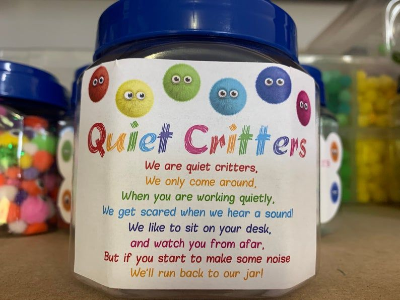 Mixed colours Classroom Quiet Critters - pompom creatures to use for classroom behaviour
