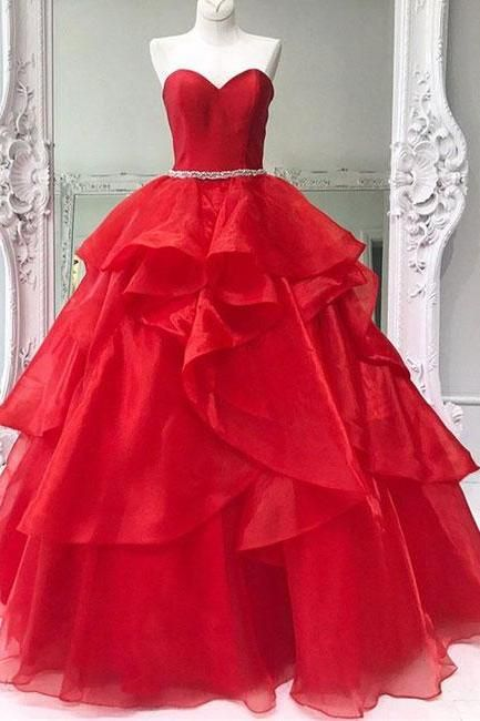 Vintage Red Tulle Long Prom Dresses