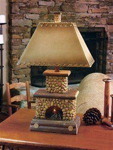 Light Stone Fireplace Table Lamp Aged Brick Lighting Rustic