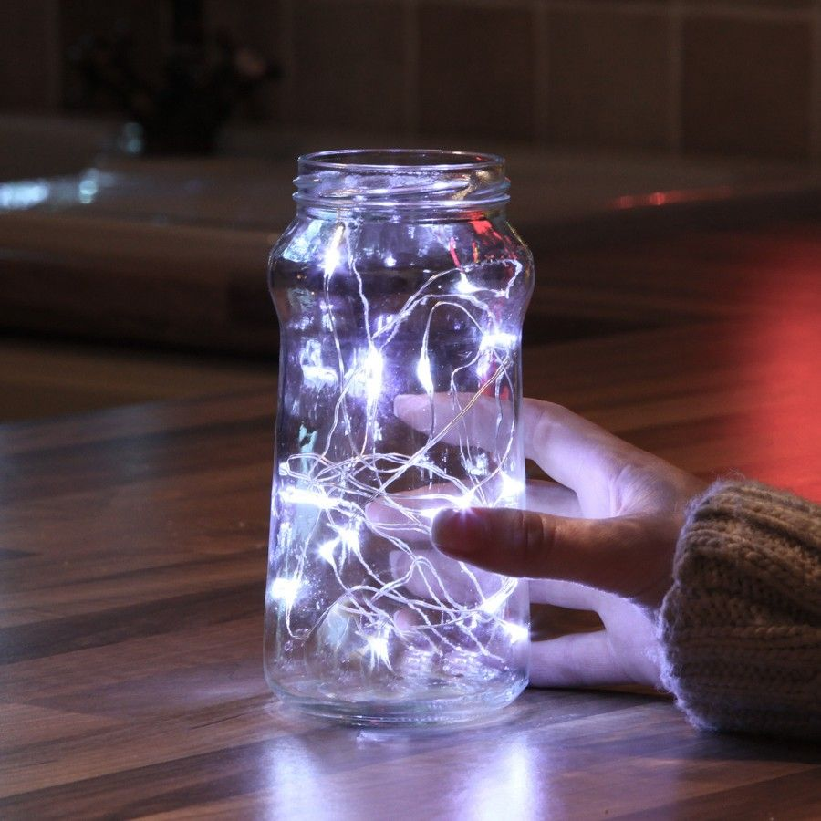 Make an old coffee jar pretty with some silver wire #fairylights ...