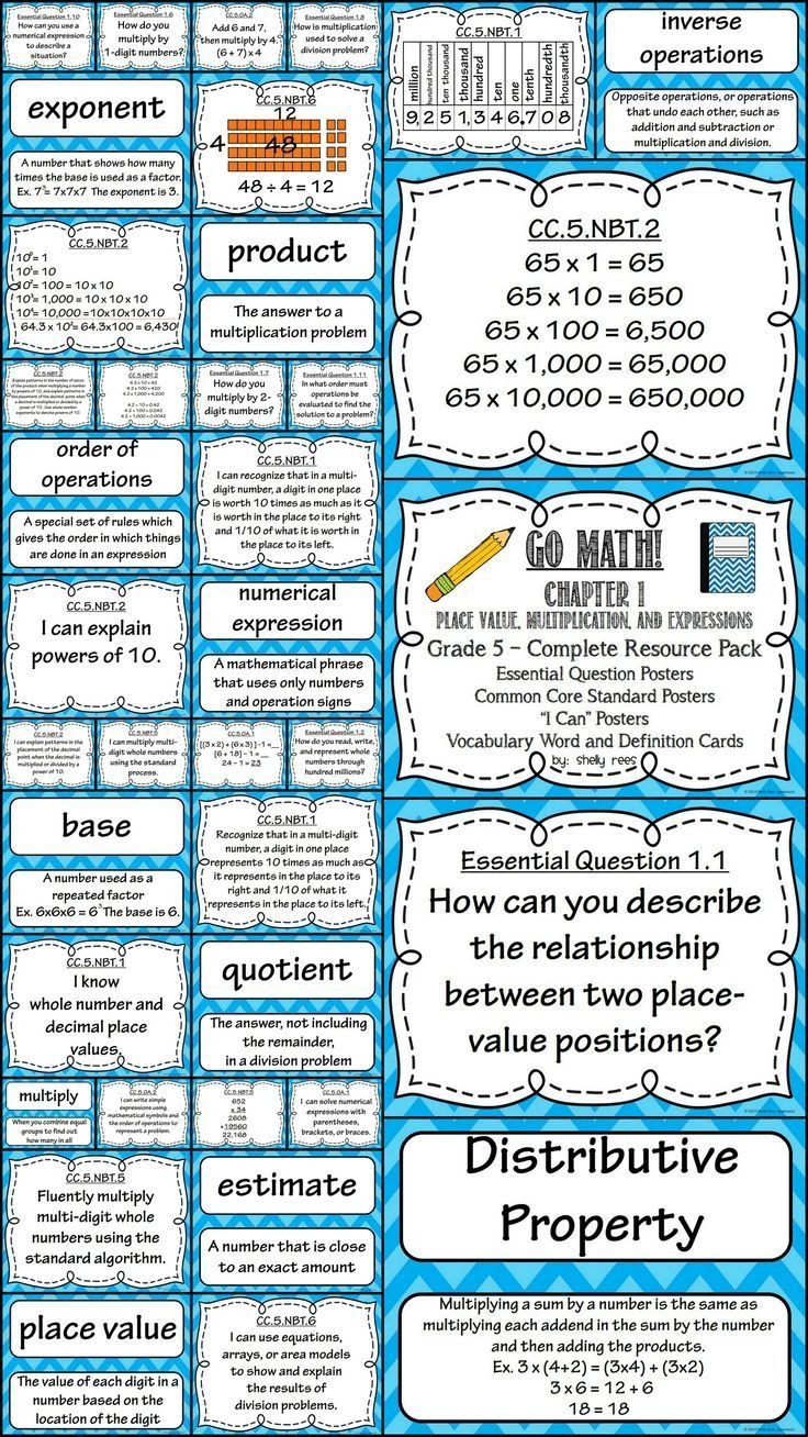 Go Math 5th Grade Chapter 1 Resource Packet | Common core posters ...