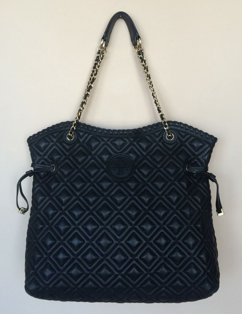 Tory Burch Marion Quilted Slouchy Tote Black Ebay Bags For Sale